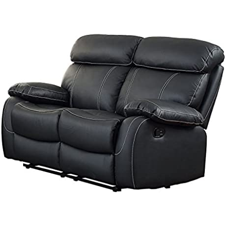 Homelegance Pendu Reclining Loveseat Top Grain Leather Match Black