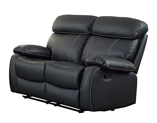 Homelegance Pendu Reclining Loveseat Top Grain Leather Match, Black - Black Loveseat Leather Match