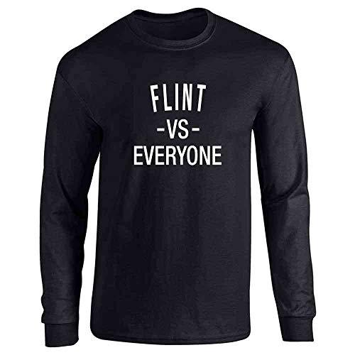 Pop Threads Flint vs Everyone Michigan Political Black L Long Sleeve T-Shirt