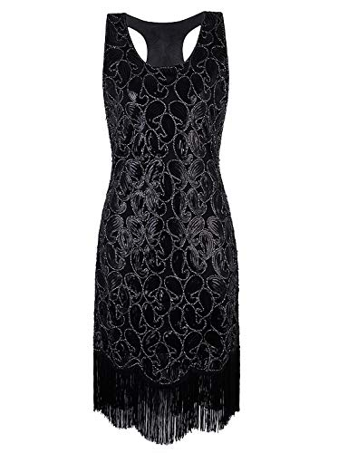 VIJIV 1920s Gastby Sequined Embellished Fringed Paisley Flapper Dress Black S]()