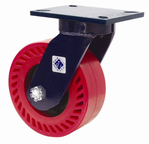 RWM Casters 76 Series Plate Caster, Swivel, Kingpinless, Steel Wheel, Tapered Roller Bearing, 5500 lbs Capacity, 8