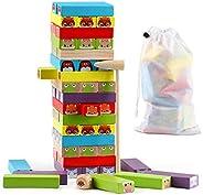 Steventoys Wooden Building Stacking Game,Animal Building Blocks Jenga Stacker Tumble Tower Games,Preschool Lea
