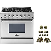 36' THOR KITCHEN 6 BURNER DUAL FUEL RANGE + LP CONVERSION KIT BUNDLE