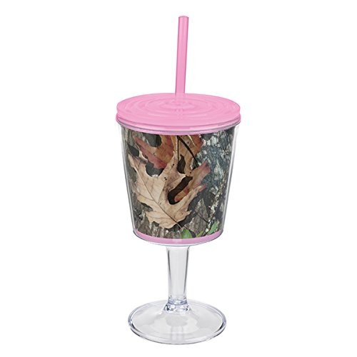 Mossy Oak Pink Camo Wine Cup with Pink Lid, Straw and Camoflage Print
