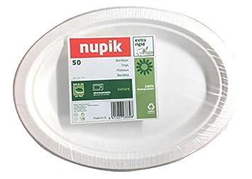 Nupik naturaleza bandejas de plástico extra rígido, 100% biodegradable D26 cm – Pack de
