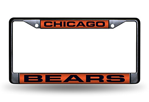 """Rico Industries NFL Chicago Bears Laser Cut Inlaid Standard Chrome License Plate Frame, 6"""" x 12.25"""", Black from Rico Industries"""