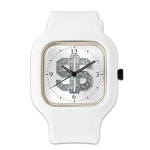 White Fashion Sport Watch Bling Dollar Sign