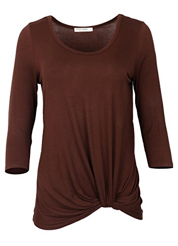 3/4 Sleeve Twist - Zip Code Round Neck 3/4 Sleeve Tunic Blouse w/Front Knot (X-Large, Brown)