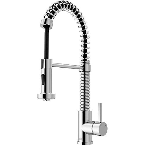 VIGO VG02001CH Edison Brass Single Handle Pull Down Sprayer Kitchen Sink Faucet, Centerset Single Hole Faucet, Swivel Head Design, Plated Chrome (Chrome Plated Single)