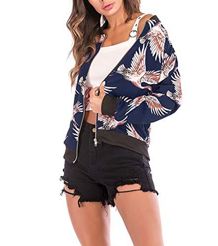 Outerwear Onlyoustyle Blu Jacket Manica E Baseball Giacche Autunno Primavera Giacca Stampa Coat Moda Cappotto Casual Blouse Donna Lunga Corto Tops Bomber RwYrqRO