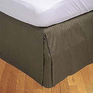 Brightlinen Moss Double (135 X 190 Cm) Box Pleated Bedskirt Stripe (drop Length: 30 Cms) 1pcs