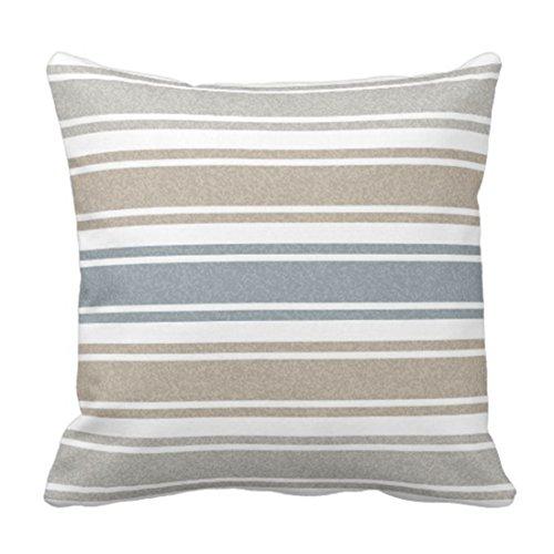 Emvency Throw Pillow Cover Stripes Thin Speckled Coastal Blue Wide Decorative Pillow Case Home Decor Square 18 x 18 Inch (Contemporary Coastal Stripe)