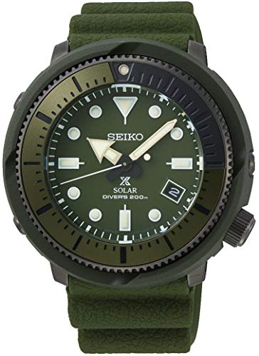 (SEIKO Prospex Street Sports Solar Diver's 200M Green Dial with Silicone Band Watch SNE535P1)