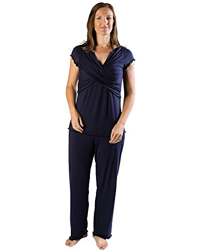 Kindred Bravely Davy Ultra Soft Maternity & Nursing Pajamas Sleepwear Set (Navy Blue, Small)