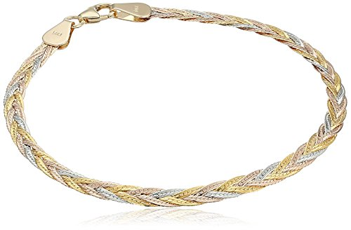 14k Gold Italian Tri-Color 5-Strand Diamond Cut Braided Herringbone Bracelet, 7.5