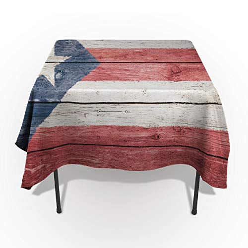 Seven Sunshine Cotton Linen Table Cover Spillproof Tablecloth Puerto Rico National Flag Decorative Table Cloth for Kitchen Dining Banquet Party/Parties Tabletop Picnic Dinner Patriotic Wood Texture