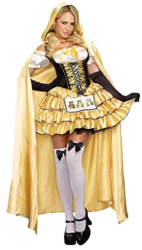 Dreamgirl Women's Goldilocks Fairytale Costume, Gold/Black, (Goldilocks Costume)