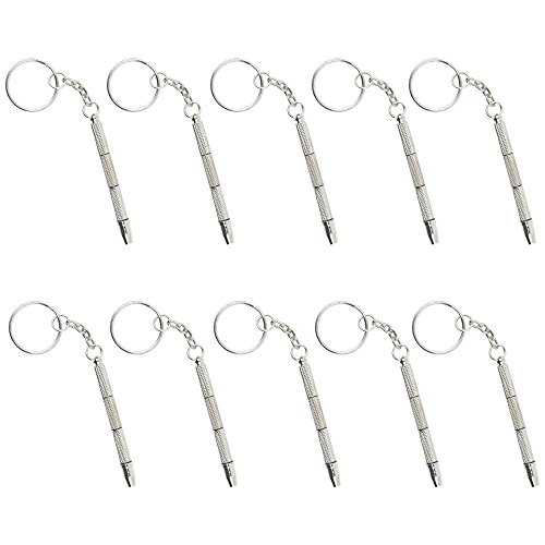 SODIAL Mini 4-in-1 Screwdriver Keychain Glasses Frame Repair Tool Fixes Sunlasses Watches Toys-10 Pcs