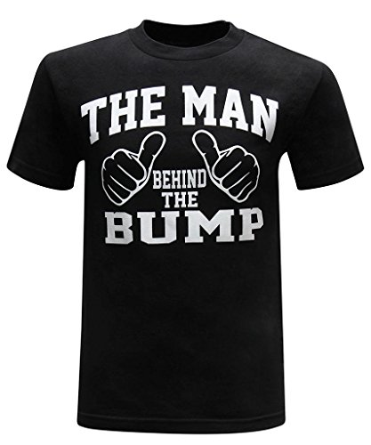The Man Behind The Bump Men's Funny Novelty T-Shirt (X-Large) - Premium Black -