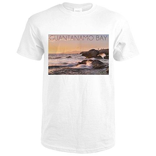 Guantanamo Bay  Cuba   Golden Pink Sky And Ocean  Premium White T Shirt X Large