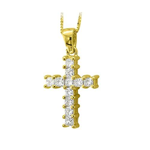 14k Yellow Gold Princess Cut Cross Diamond Pendant Necklace (1.00 Carat) - IGI Certified