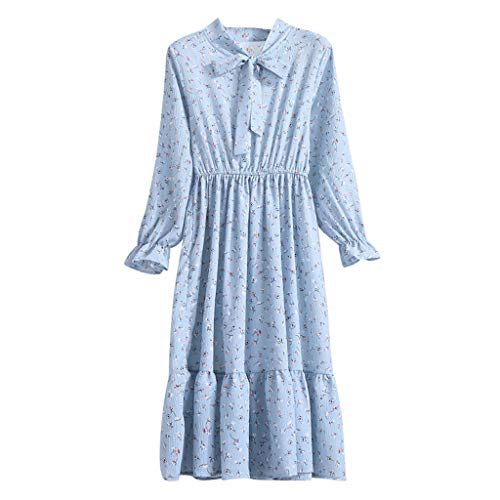 Pandaie-Womens Dresses, Women Floral Chiffon Long Sleeve Printing Casual Party Vintage Boho Maxi Dress Blue