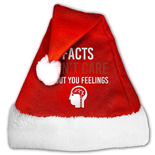 Red And White Xmas Hat, Naughty Facts Don't Care About Your Feelings Christmas Santa Hats For Childrens And Adults