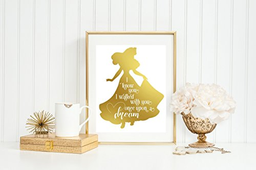 AURORA - ONCE UPON A DREAM - 8 x 10 print gold foil home decor home decorating Disney Aurora sleeping beauty princess styled print