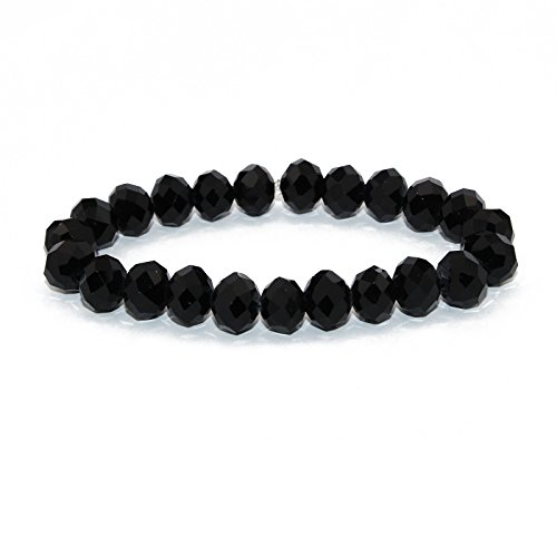 POMINA Hand Faceted Crystal Beaded Stretch Bracelets - Faceted Stretch Bracelet Black