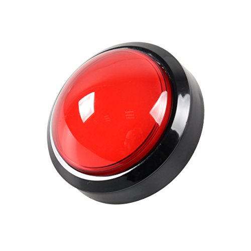 EG STARTS Arcade Buttons 100mm Big Dome Convex Type LED Lit Illuminated Push Button for Arcade Machine Video Games Parts & Red DC ()