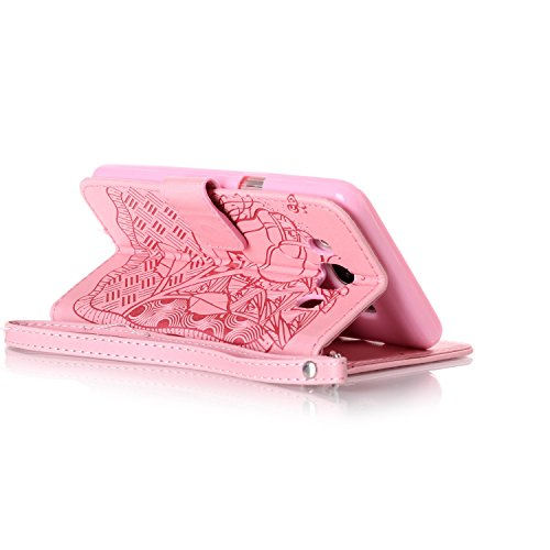 TOCASO- Lujo Clásico PU Leather Funda Cuero Con Tapa para Samsung Galaxy J5 (2016) J510, Case Cover Piel Funda Flip con Ranura Tarjeta para Samsung Galaxy J5 (2016) J510, Billetera Funda con Decoració Rosa 2