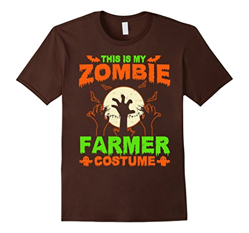 Mens This Is My Zombie Farmer Costume T-Shirt 3XL Brown