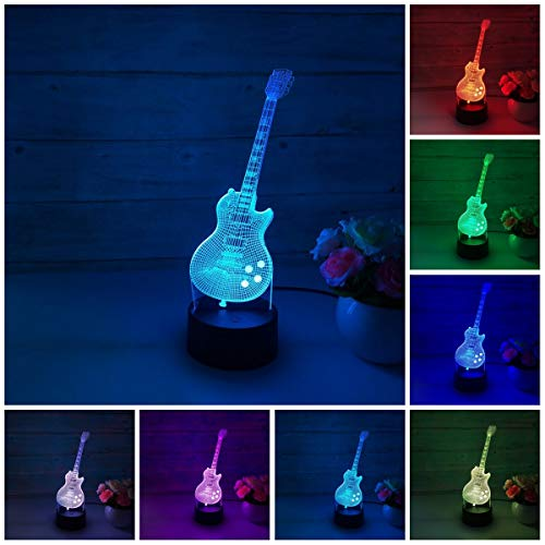Guitar 3D LED Illusion lamp?Colorful Night Light Lamp Gift for Kids Children Men Women Holiday Birthday,Touch USB or Battery Powered