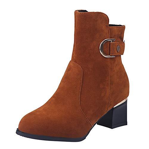 Zipper Con Boots 1 Color Pure Zapatillas De Botines Mujer Bazhahei Bola Ante Redonda Botas Para Gamuza Pelo Zapatos Brown Cuña Punta Cabeza nfYPq0