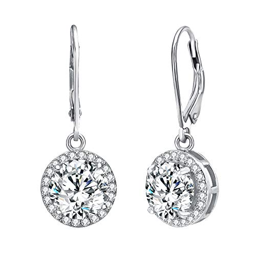 (EVER FAITH 925 Sterling Silver Elegant Round CZ Prong Setting Leverback Dangle Earrings)