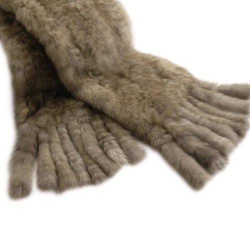 毛皮・ファーロシアンセーブル編み込みマフラーレディース15cm幅ストール防寒stole毛皮:ミディアムライト系