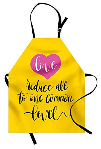 SODIKA Quote Apron, Kitchen Bib Apron Adjustable for Cooking Baking Gardening Unisex - Love Reduces All to One Common Level Saying with a Romantic Pink Heart, Yellow Hot Pink and Black