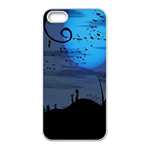 iPhone 5,5S Case,Bats over Cemetery Halloween Hard Shell Back Case for White iPhone 5,5S Okaycosama343659