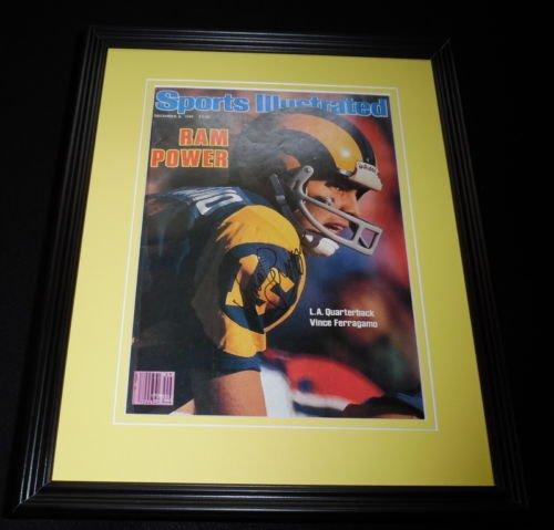 Vince Ferragamo Signed Framed 1980 Sports Illustrated Magazine Cover Rams