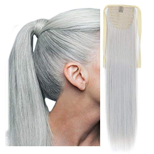 - Haironline Ponytail Extensions One Piece Tie Up Ponytail Clip in Hair Extensions Hairpiece Binding Pony Tail Extension for Girl Lady Woman SILVER