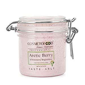 aryanveda Cosmetofood Professional Arctic Berry & Strawberry Brightening Enzyme Exfoliant Face Scrub, 200ml
