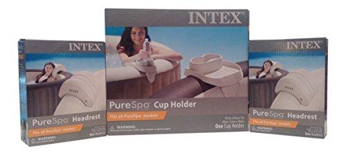 Intex PureSpa Bundle - 3 Items: 1 Cup Holder Tray, 2 Spa Headrests