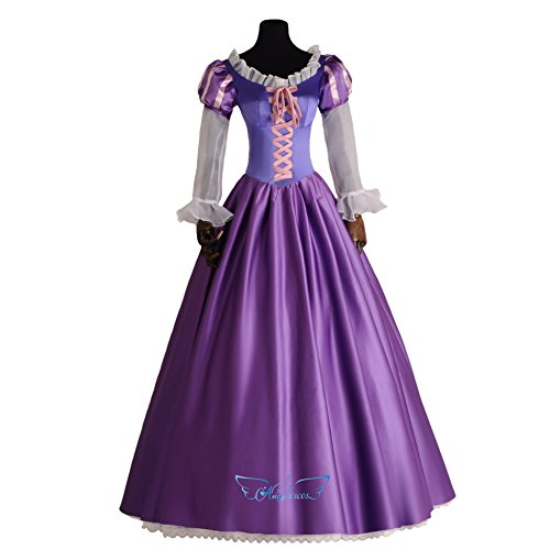Angelaicos Womens Halloween Costume Deluxe Long Purple Dress (M) (Tangled Rapunzel Dress)