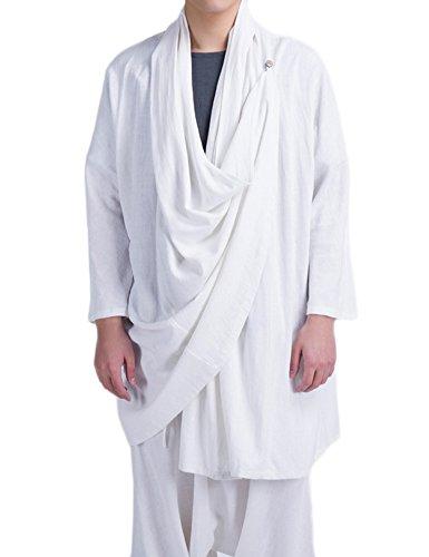 Idopy Meditaion Monk Asian Traditional Kimono Cloak Cape Coat Costume Asian 2XL US M+ White]()