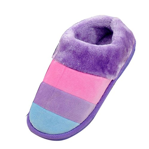 GBSELL Winter Warm Women Ladies Home Floor Soft Stripe Slippers Female Cotton-padded Shoes (Purple, 6.5-8)
