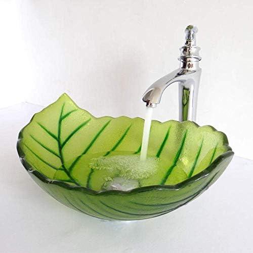 ゆば 強化ガラスシンク芸術手描きガラス洗浄流域トイレシンク浴室シンク手描きガラスボウル葉形状sinks_with_faucet(カラー:シンクと蛇口) (Color : Sinks With Faucet)