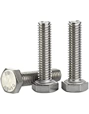 M8 x 12mm Hex Head Screw Bolt, Fully Threaded, Stainless Steel 18-8, Plain Finish, Quantity 25