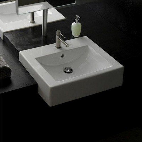 Scarabeo 8007/D-One Hole Square Ceramic Semi Recessed Sink, 24
