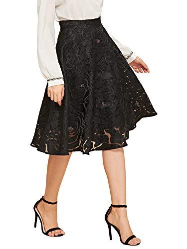 (WDIRARA Women's Vintage Floral Pleated Flared Midi Skirts Black Black L)