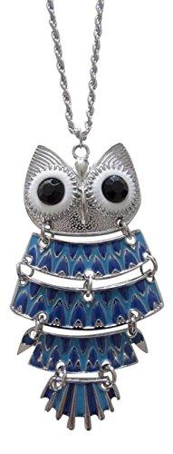 Collier, pendentif motif chouette bleu dominant en acier. Nouveauté.
